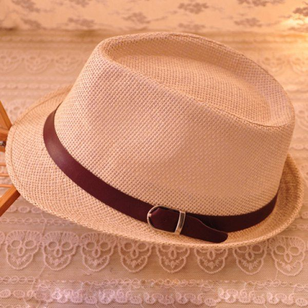 Trendy Belt Decorated Solid Color Sun Hat For Men and Women, OFF-WHITE in Hats | DressLily.com