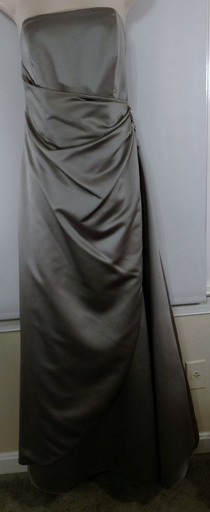 Davids Bridal Bridesmaid Silver Strapless Long Dress Jeweled Pin Women's size 10
