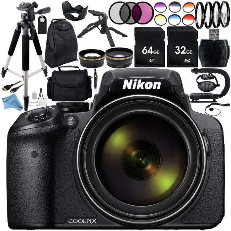 Nikon COOLPIX P900 Digital Camera With 83x Optical Zoom And Built In Wi Fi Black Ultimate 96GB Accessory Kit Includes 2X SanDisk Ultra Memory Cards