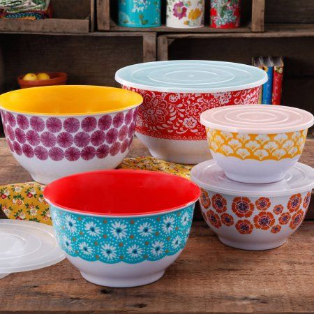 The Pioneer Woman Traveling Vines Nesting Mixing Bowl Set, 10-Piece, Multicolor