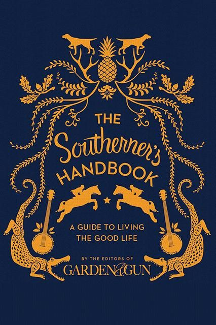 the southerners handbook cover / symmetry, illustration, animals, garland, hand-rendered type, gold and blue