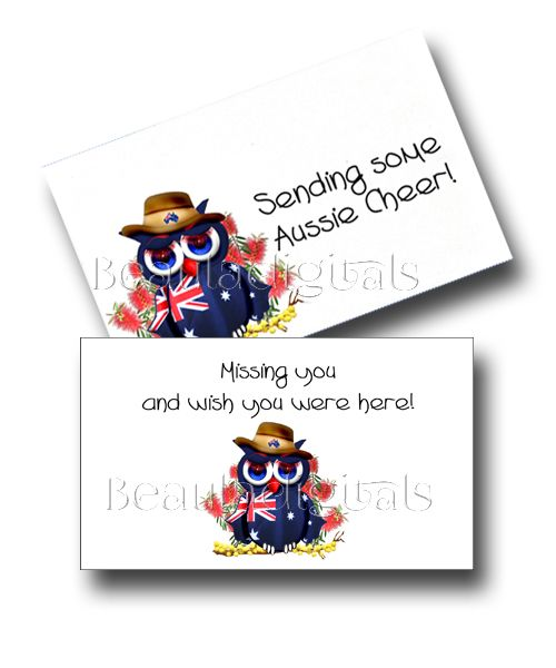 Aussie Owl Cheers and Miss you Card and Envelope.  Printable Download Template