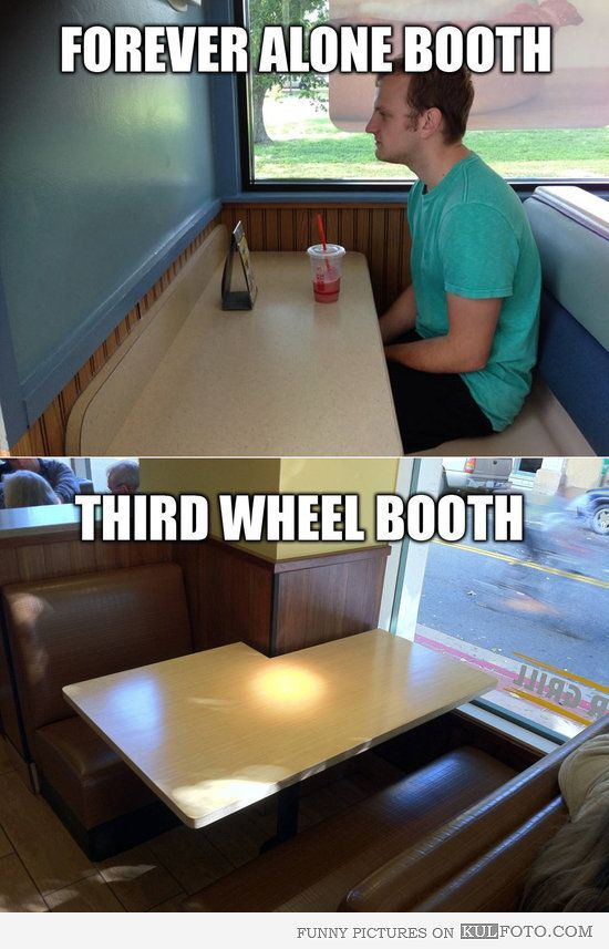 Forever Alone and Third Wheel booths.