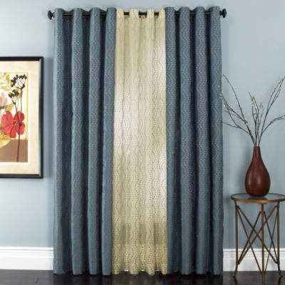 Buy Sloane Embroidered Lined Grommet Window Curtain Panels From Bed Bath Beyond In Black