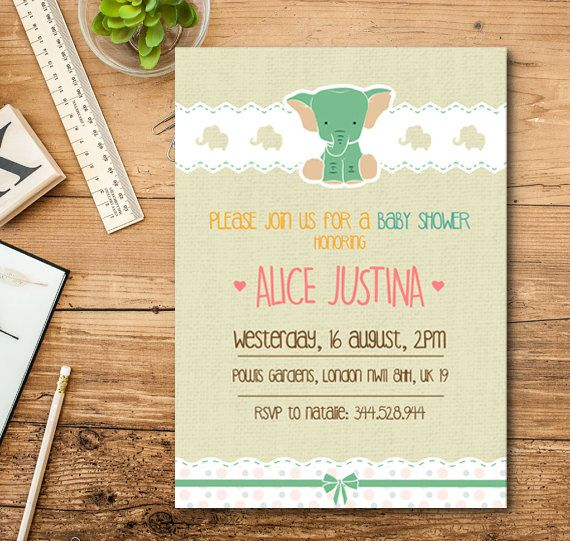 Baby Shower Invitation Girl Squid Invitation by TheCutePaperStudio Baby Shower Invitations For Girls