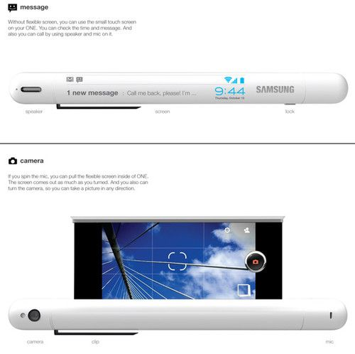 One Mobile Phone, pen, Yejin Jeon, flexible display, cloud computing, cellphone, future technology, innovation, concept, futuristic phone, future phone, mobile phone, concept phone, flexible screen, touch screen, Samsung, future gadget, future device, futuristic gadget, futuristic device