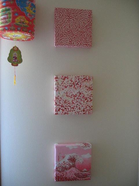 Small canvasses wrapped in beautiful Japanese decorative paper [ Barndoorhardware.com ] #Asian #hardware #slidingdoor.
