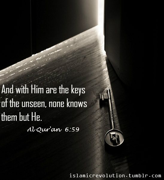 And with Him are the keys of the unseen, none knows them but He. [Al Qur'an 6:59]