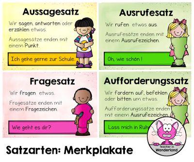 Satzarten: Merkplakate – Unterrichtsmaterial im Fach Deutsch – Teacher in Wonderland