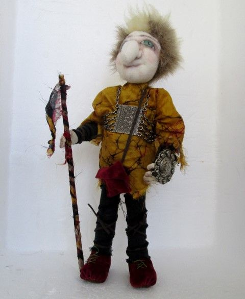 Robbie is ready to protect his family, wearing his breast plate and shield, he carries his family staff with pride. He stands on his own 24cm. His great character face shows no fear. he wears suede boots and wrapped leggins, with his battle weary silk jerkin. For sale $70  https://www.etsy.com/au/shop/giftShopjanes?ref=hdr_shop_menu