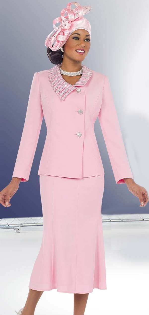 Fifth Sunday 52826-Pink Embellished Collar Church Suit With Pleated Skirt