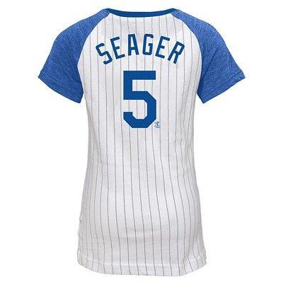 LA Dodgers Girls' Corey Seager Pinstripe T-Shirt Jersey - White XS, Girl's, Multicolored White