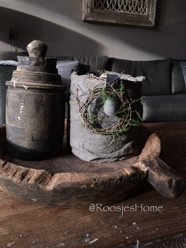 Oude houten schaal gedecoreerd 💕