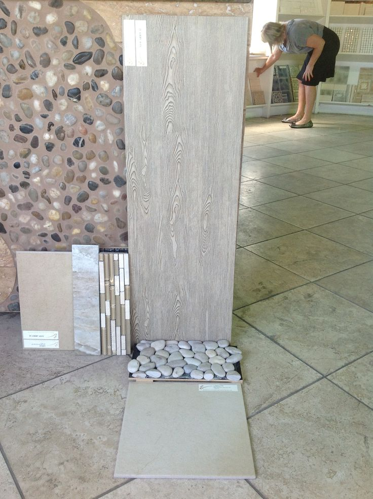 Master Bath Tile Suite Large Format Wood Grain Ceramic Tile For Shower Walls And Counter