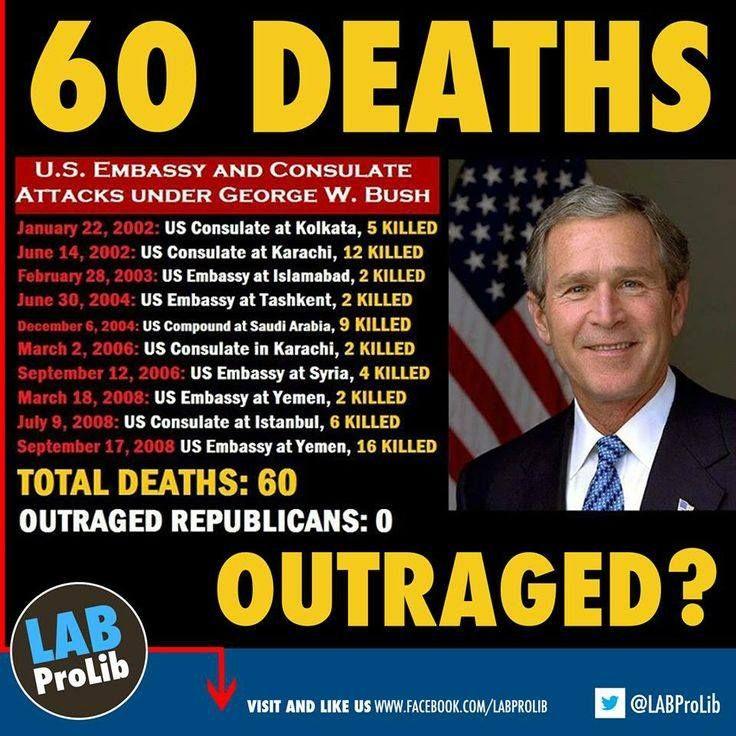 60 Deaths in Embassy attacks under President George W. Bush