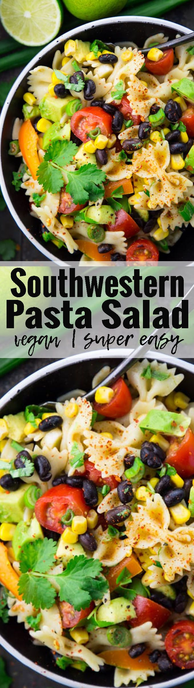 This Southwestern pasta salad with avocado, black beans, and lime dressing is my all-time favorite pasta salad! It's so delicious, vegan, and really easy to make! Find more of my vegan recipes over at veganheaven.org <3