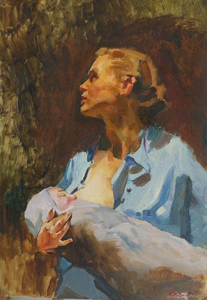 Portrait oil young beautiful girl Large Antique oil painting original Socialist realism Soviet art Ukrainian artist Bondarenko S 26-20 1960