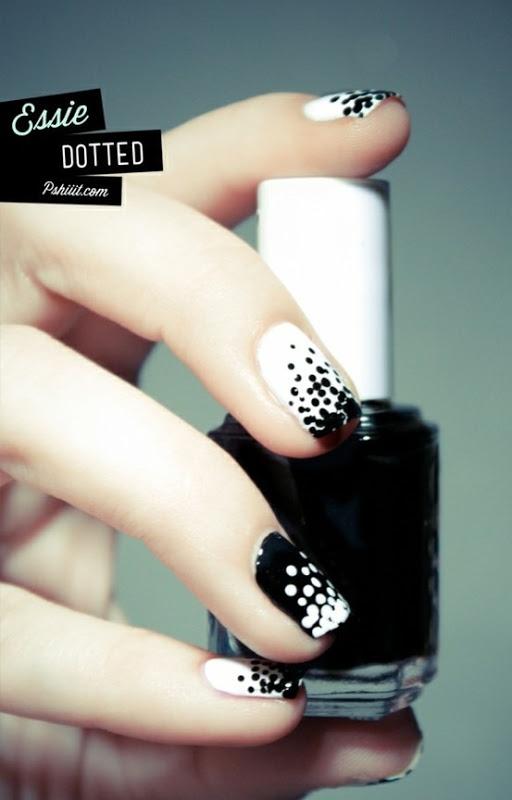 Black and White Polka Dot Nails via pshiiit