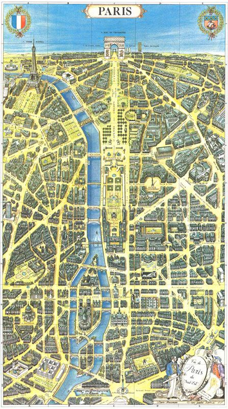 Map of Paris >>> A nicely different perspective, with west at the top, but still including pretty much all the main icons.
