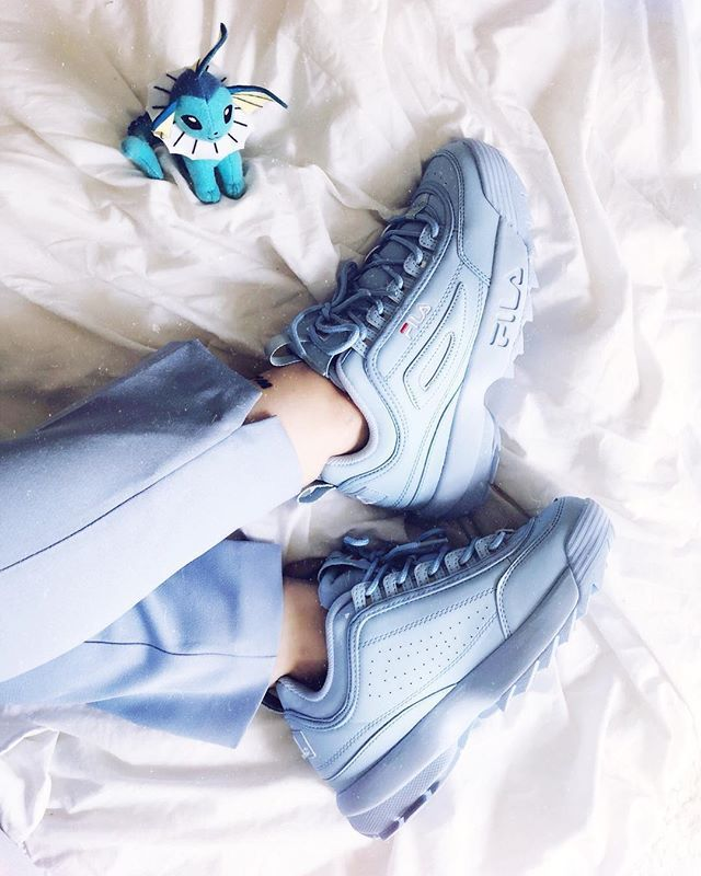 LazyKicks : pastel blue Fila Disruptor Have a nice day