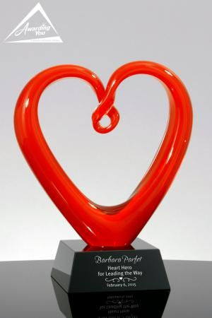 The Crimson Red Heart Art Glass Award is a beautiful award that is popular with hospitals, universities, and non profits.  It features a beautiful hand blown art glass heart on a black crystal base.