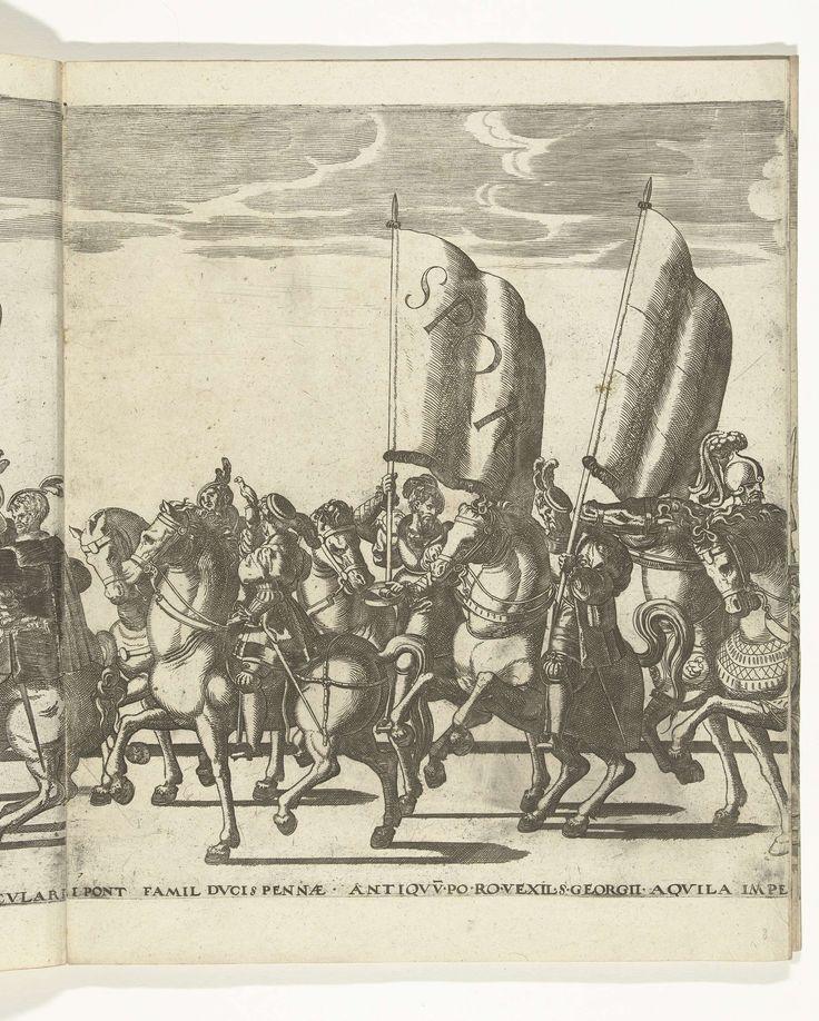 Nicolaas Hogenberg | Vaandeldragers SPQR, plaat 7, Nicolaas Hogenberg, 1530 - 1536 | Vaandeldragers, plaat 6. Optocht van Karel V met de paus Clemens VII te Bologna na zijn kroning to keizer, 24 februari 1530.