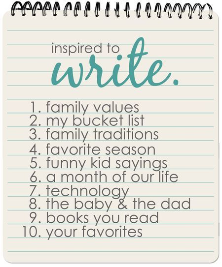Great journaling prompts. I LOVE to write. I used to write down everything, all the time, always. While I was pregnant and after I gave birth I wrote the whole experience down for my son- how his daddy and I met through his birth. One day I'll let him read all that. <3