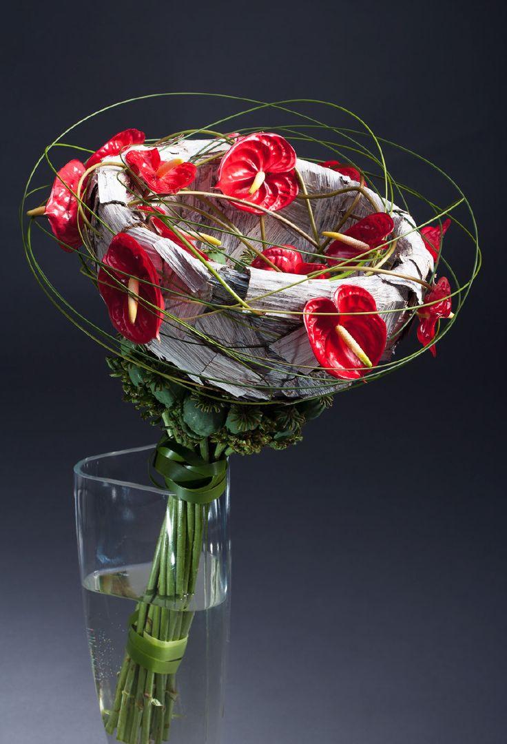 Red Anthurium bouquet - Constructed Bouquets ~ Frédéric Dupré, Stefan Göttle, Patrick Jansen