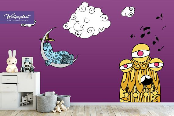$140 Purple Space Wall Decal, Temporary Peel And Stick Wall Art, Self Adhesive  Wall