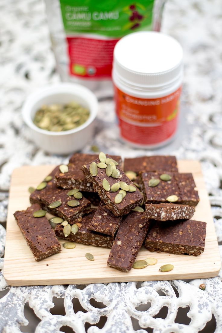 Immune Boosting Seedy Choc Slice - a great way to sneak some goodness of Camu Camu and Probiotics into your family's diet. Perfect morning or afternoon snack!