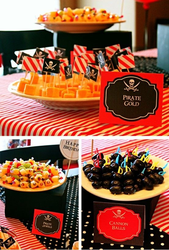 """pirate party idea by ben shiham...love the olives on swords and cheese squares with """"polly crackers"""""""