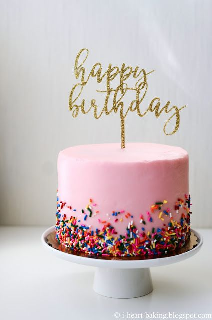 Pink Sprinkles Birthday Cake With Gold Topper