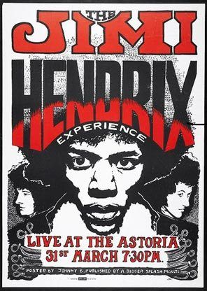 An exhibit poster advertising a Jimi Hendrix Experience concert in London in 1967.