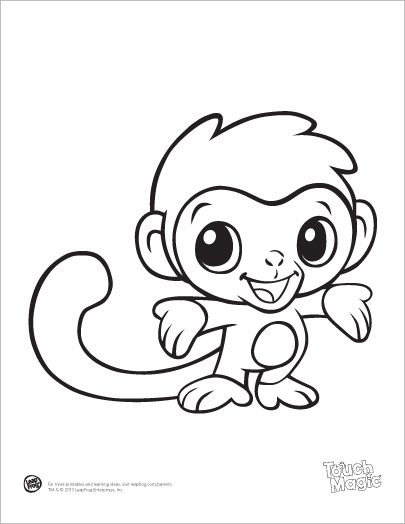 Learning Friends Monkey Baby Animal Coloring Printable From LeapFrog