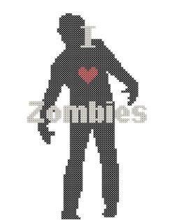 Zombie cross stitch pattern in PDF format