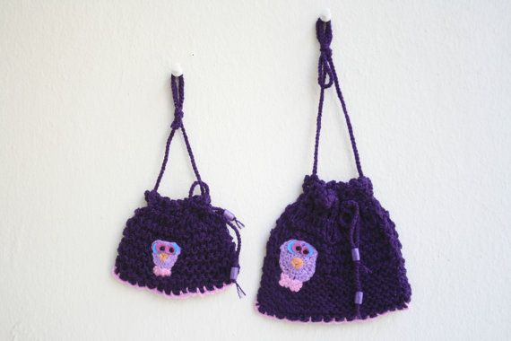 Hand-knitted purple pouch set Decorative wall by KirkeCraft
