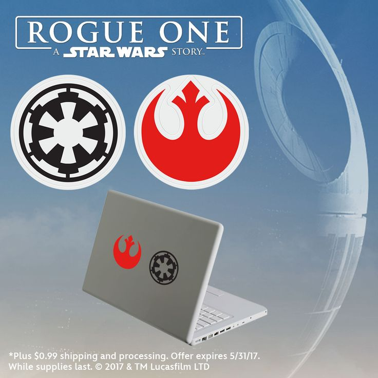 Show off your love of Star Wars with these decals, free* when you purchase Rogue One. Details: www.disneymovierewards.go.com/promotions/special-offers/rogue?cmp=DMR|PIN|PWP|RogueOneDecal|2017|Apr|4