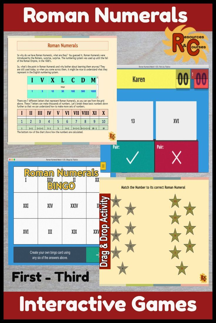 Roman Numerals Interactive Resources Set 1st-3rd Grade in 2020 (With  images)   Primary students [ 1103 x 736 Pixel ]