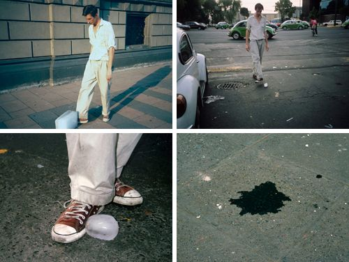 Francis Alÿs is a Belgian contemporary artist living in Mexico City. Above are stills from the short movie Paradox of Praxis 1, where Alÿs pushes a block of ice through the streets of Mexico City until it melts; serving as a way to mark time and measure existence. More on the artist.