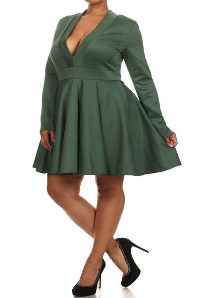 Dance the night away in the prettiest plus size dress featuring a deep V neckline, long sleeves and skater skirtGreat for plus size clubwear or any occasion! Ge