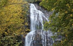 Mingo Falls in Cherokee, NC on the Cherokee Reservation.Western NC which has thousands of waterfalls.