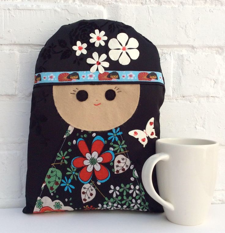 Quality Handmade Black Kokeshi Doll Cushion in organza Gift Bag, Japan Doll Decorative Pillow; Japanese Flower Kokeshi Doll home accessory by deejavuart on Etsy https://www.etsy.com/uk/listing/523833883/quality-handmade-black-kokeshi-doll