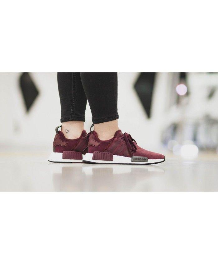 190b9b7600c Adidas NMD R1 Original Boost Womens Maroon Dark Purple White Shoe ...