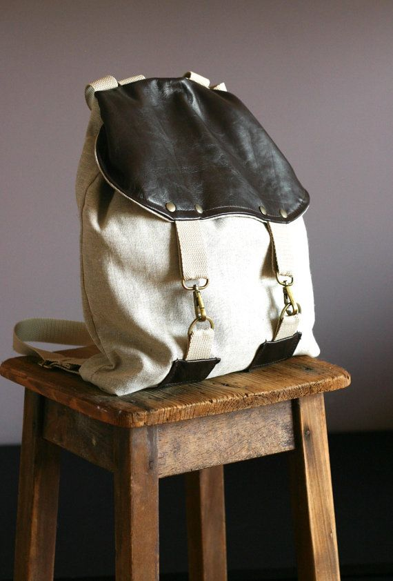 Linen and leather backpack  linen bag  by Creazionidiangelina