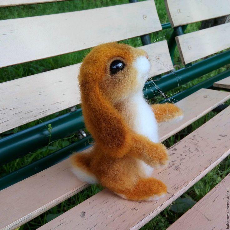 Купить Крольчонок. Игрушка из шерсти. - бежевый, кролик, крольчонок, зайка, зайчонок, малыш, пушистый, рыжик