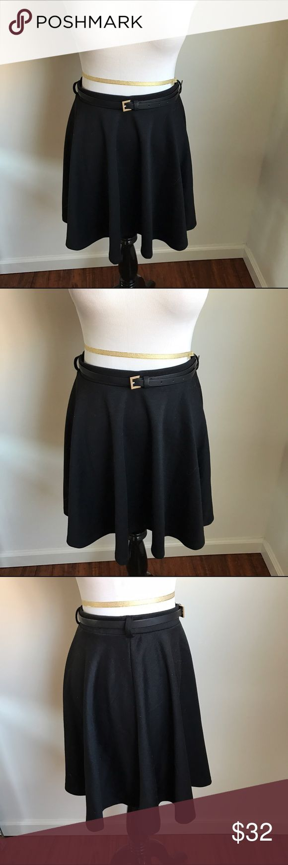 NWT ASOS Black Skater Skirt with Belt NWT ASOS Black Skater Skirt with Belt.  Knit fabric.  By brand New Look.  Purchased from ASOS 🚫No Trades 🚫No Modeling ASOS Skirts Circle & Skater