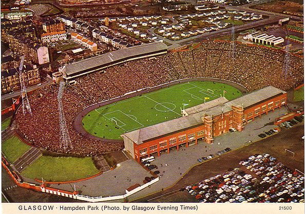 Hampden Park, Glagsgow, Scotland's national stadium. The 1937 Scotland v England match had an official attendance of 149,415, but at least 20,000 more people entered the ground without tickets. 1 week later the 1937 Scottish Cup Final between Celtic and Aberdeen drew an official crowd of 147,365, with 20,000 more people locked outside.