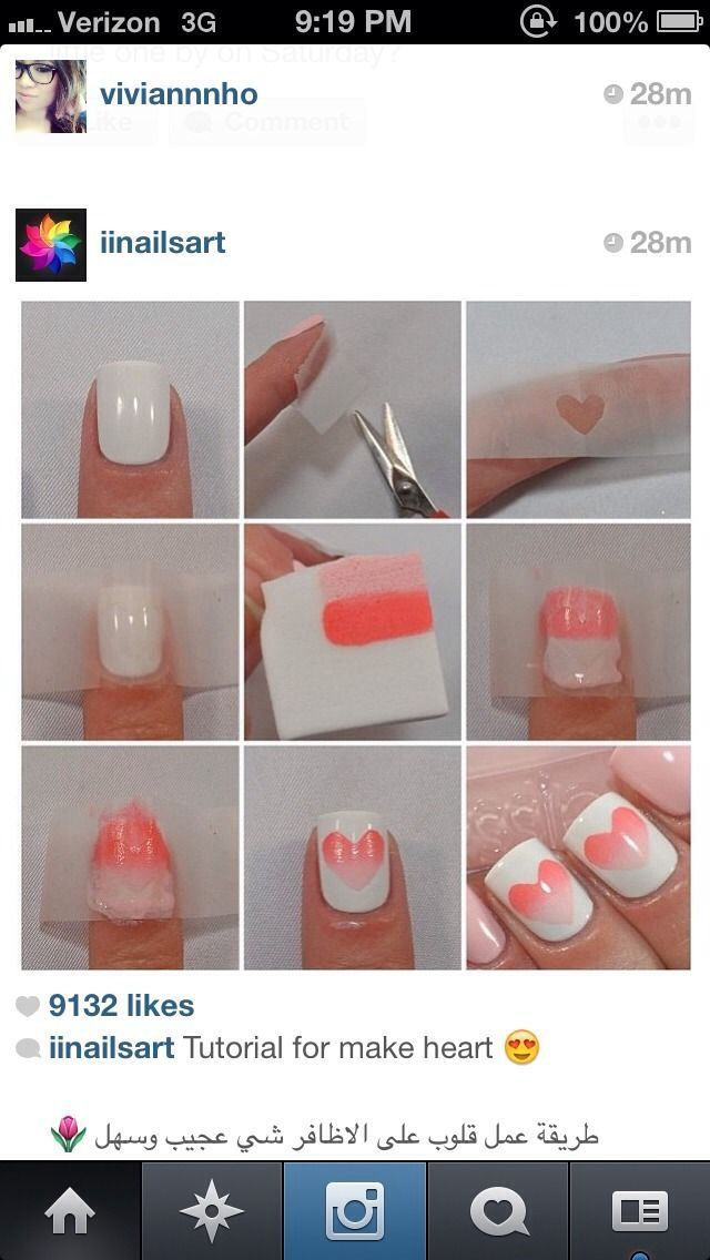 Cute and easy heart nails