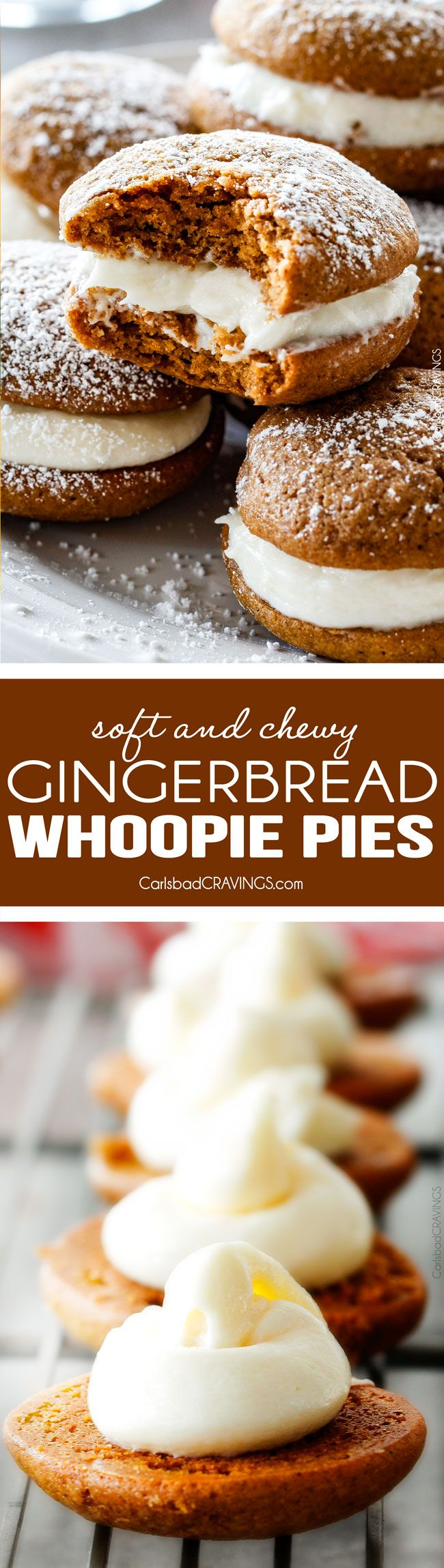 Gingerbread Whoopie Pies - everyone always begs me for this recipe! Super soft gingerbread cookies stuffed with luscious cream cheese filling! You won't be able to have just one!