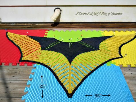 The pattern was the Colonnade Shawl (Free pattern on Ravelry or Knitty) Knit for the Ravellenic Games this summer. Love this shawl!
